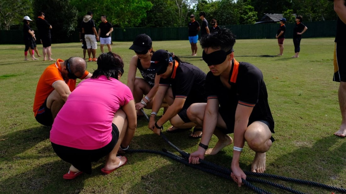 OrangeTee Leadership In-Action-Camp blindfold game