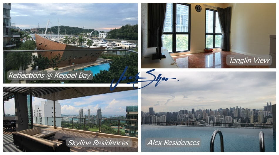 The properties at Reflections @ Keppel Bay, Tanglin View, Skyline Residences and Alex Residences that were transacted by Jack.