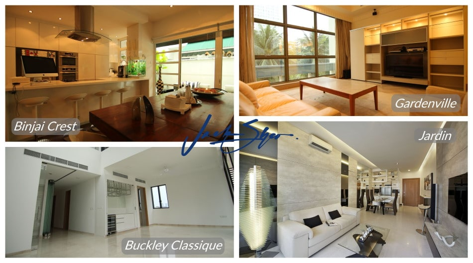 The properties at Binjai Crest, Gardenville, Buckley Classique and Jardin that was transacted by Jack.