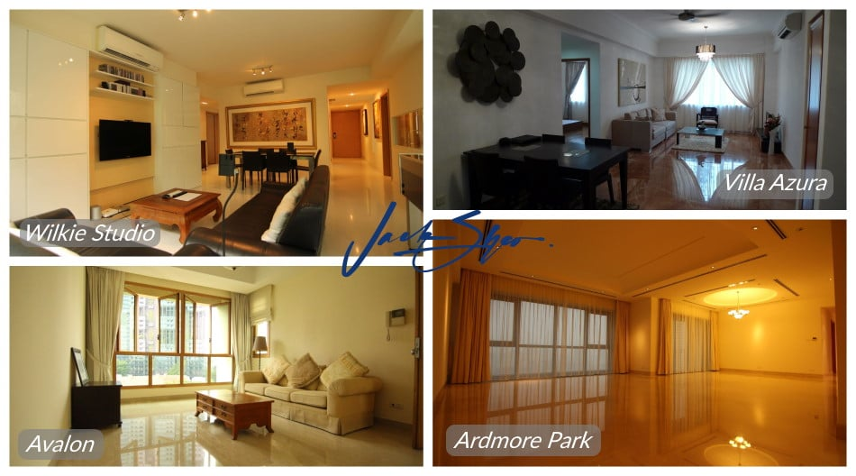 The properties at Wilkie Studio, Villa Azura, Avalon and Ardmore Park that was transacted by Jack.