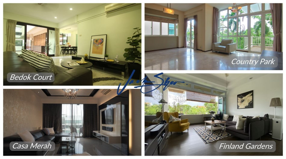 Properties at Bedok Court, Country Park, Casa Merah and Finland Gardens that were transacted by Jack.