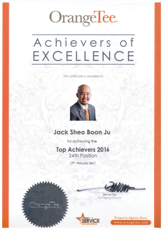 Singapore Property Agent Jack Sheo - Top Producer 2016